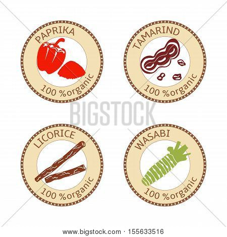 Set of herbs labels. 100 organic. Spice collection. Vector illustration. tamarind paprika wasabi licorice Brown stamps flat style Icon collection