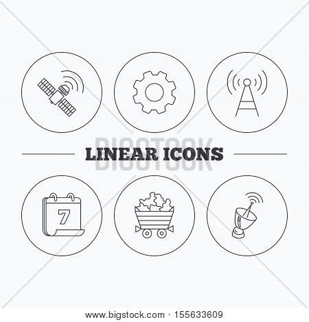 Telecommunication, minerals and antenna icons. GPS satellite linear sign. Flat cogwheel and calendar symbols. Linear icons in circle buttons. Vector