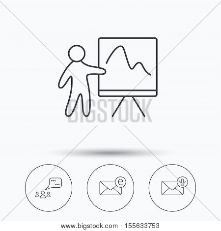 Mail, presentation and meeting chat bubbles icons. E-mail linear sign. Linear icons in circle buttons. Flat web symbols. Vector