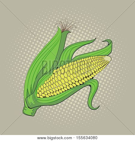 Ear of corn, harvest, agriculture, pop art retro vector illustration