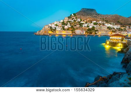 Hydra island on a summer night in Greece. Beautiful landscape with night illumination.