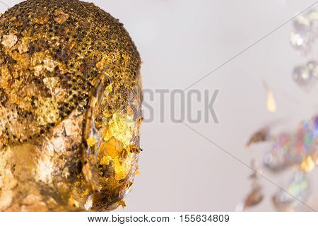The Buddha Statue To Gild With Gold Leaf. Which People Use To Worship The Buddha Image. Selective Fo