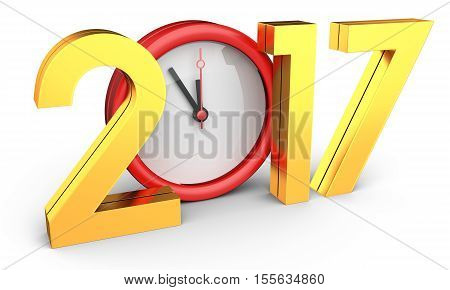 Happy New Year 2017 Text With Clock