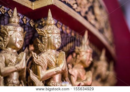 The Golden Buddha Statue To Gild. Which People Use To Worship The Buddha Image. Selective Focus.