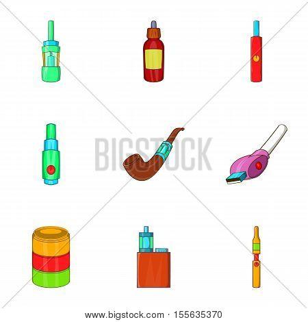 Electronic cigarette icons set. Cartoon illustration of 9 electronic cigarette vector icons for web