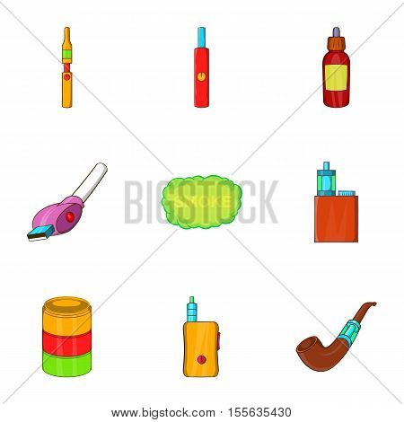 Cigarette icons set. Cartoon illustration of 9 cigarette vector icons for web