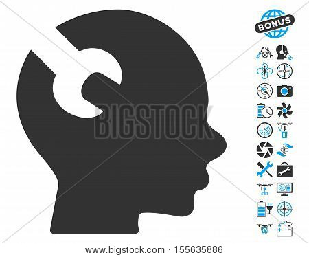 Brain Wrench Tool icon with bonus quadrocopter tools pictograph collection. Vector illustration style is flat iconic blue and gray symbols on white background.