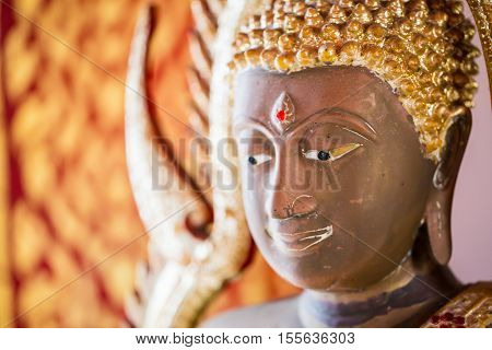 The Buddha Statue To Gild. Which People Use To Worship The Buddha Image. Selective Focus.