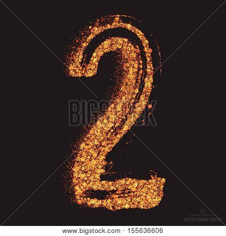 Vector grungy font 001. Number 2. Abstract bright golden shimmer glowing round particles vector background. Scatter shine tinsel light effect. Hand made grunge shape design element