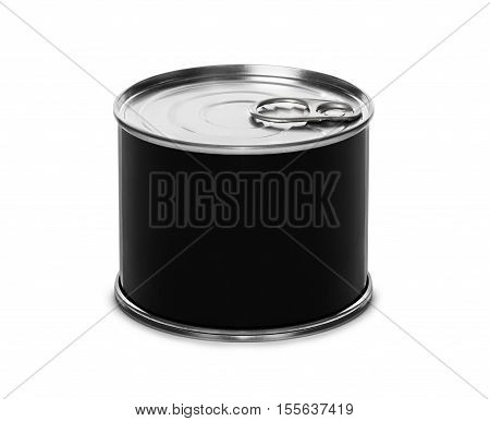 Closed fish or food tin can with blank black label isolated on white background