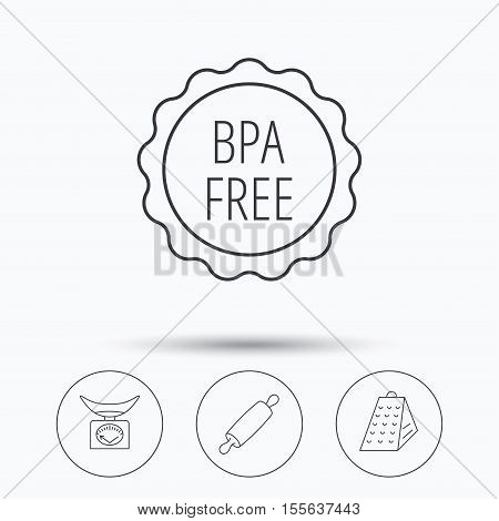 Kitchen scales, rolling pin and grater icons. BPA free linear sign. Linear icons in circle buttons. Flat web symbols. Vector