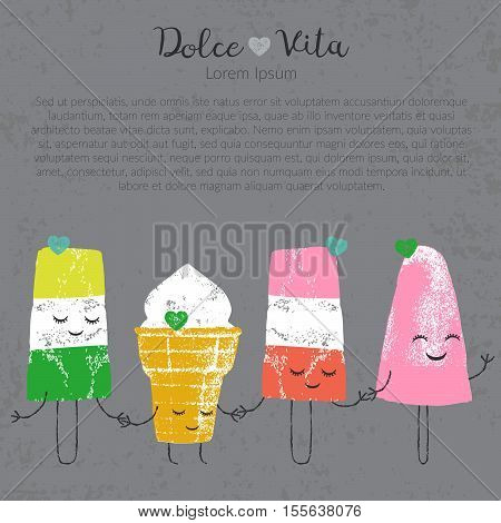 Vector hand drawn ice cream set cute kawaii frendship story for postcard, poster, label and others