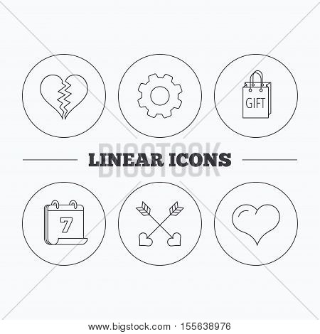 Love heart, gift box and arrows icons. Broken heart or divorce linear signs. Flat cogwheel and calendar symbols. Linear icons in circle buttons. Vector
