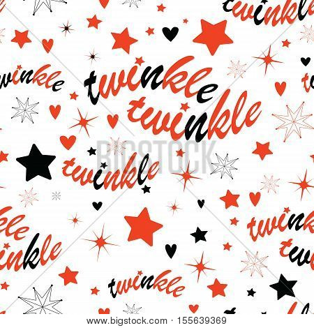Holiday background with stars and twinkle twinkle lettering. Hand drawn Lullaby Baby shower design.
