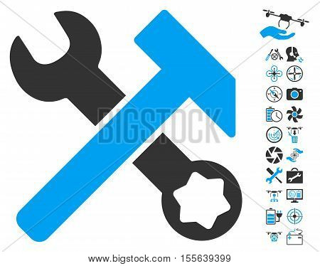Hammer and Wrench pictograph with bonus uav tools graphic icons. Vector illustration style is flat iconic blue and gray symbols on white background.