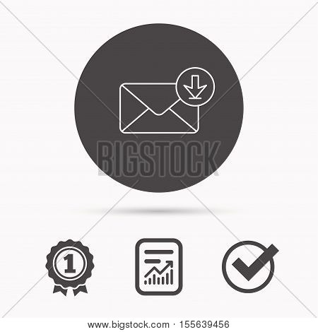 Mail inbox icon. Email message sign. Download arrow symbol. Report document, winner award and tick. Round circle button with icon. Vector