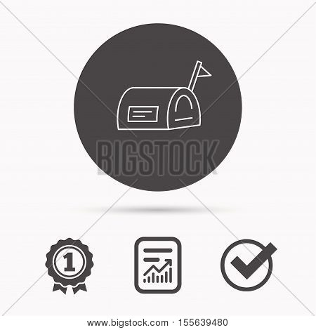 Mailbox with flag icon. Post email box sign. Report document, winner award and tick. Round circle button with icon. Vector
