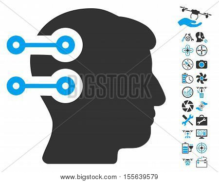 Head Connectors pictograph with bonus uav service images. Vector illustration style is flat iconic blue and gray symbols on white background.