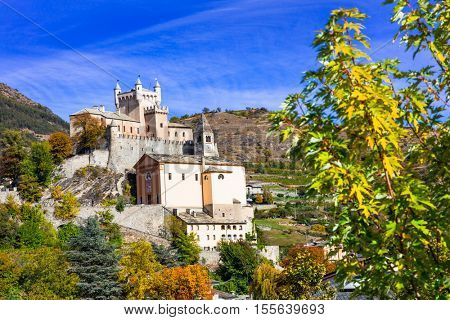 Beautiful castles of Valle d'Aosta- Saint Pierre, northen Italy