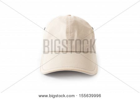 Closeup front view of white hat cap on white background fashion concept