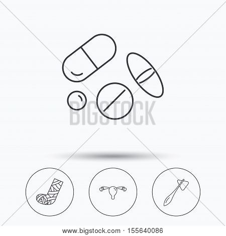 Hammer, broken leg and medical pills icons. Uterus and ovary linear sign. Linear icons in circle buttons. Flat web symbols. Vector