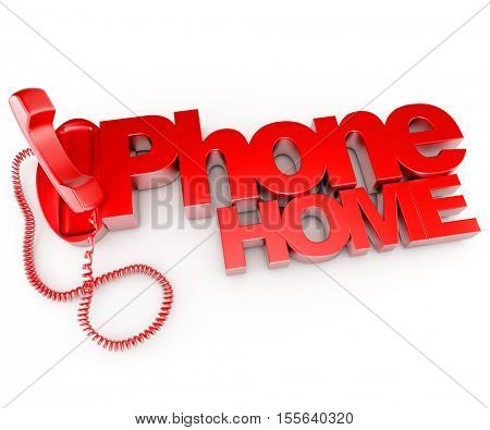 3D rendering of an unhooked telephone receiver with the words phone home