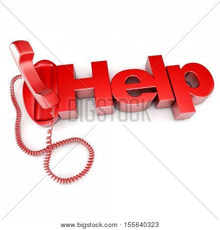 3D rendering of an unhooked red telephone with the word help