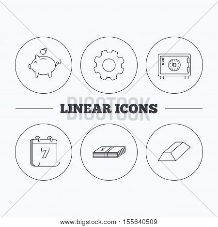Piggy bank, cash money and safe icons. Gold bar linear sign. Flat cogwheel and calendar symbols. Linear icons in circle buttons. Vector