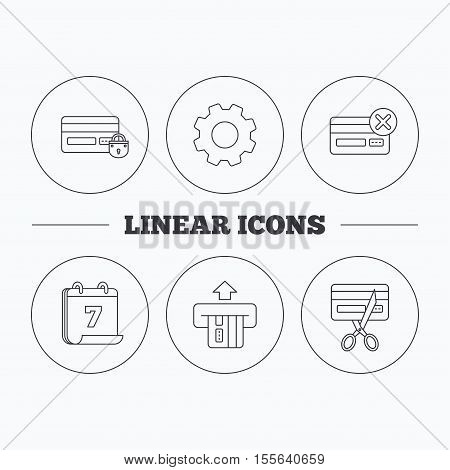 Bank credit card icons. Banking, blocked and expired debit card linear signs. Flat cogwheel and calendar symbols. Linear icons in circle buttons. Vector