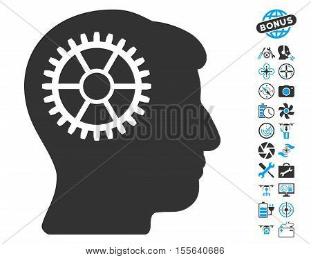 Intellect Cog icon with bonus quadrocopter service icon set. Vector illustration style is flat iconic blue and gray symbols on white background.