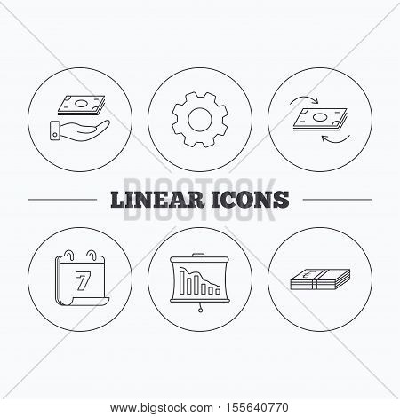 Banking, cash money and statistics icons. Money flow, save money linear sign. Flat cogwheel and calendar symbols. Linear icons in circle buttons. Vector