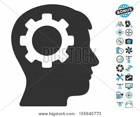 Intellect Gear pictograph with bonus airdrone service graphic icons. Vector illustration style is flat iconic blue and gray symbols on white background.
