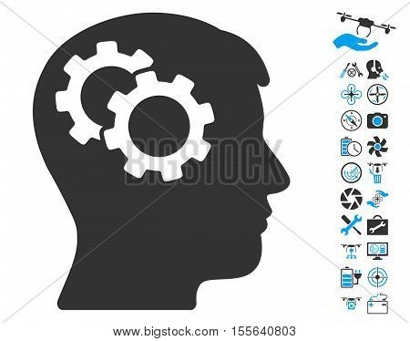Intellect Gears icon with bonus drone service pictures. Vector illustration style is flat iconic blue and gray symbols on white background.