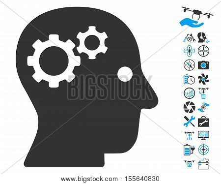 Intellect Gears pictograph with bonus drone tools pictograph collection. Vector illustration style is flat iconic blue and gray symbols on white background.