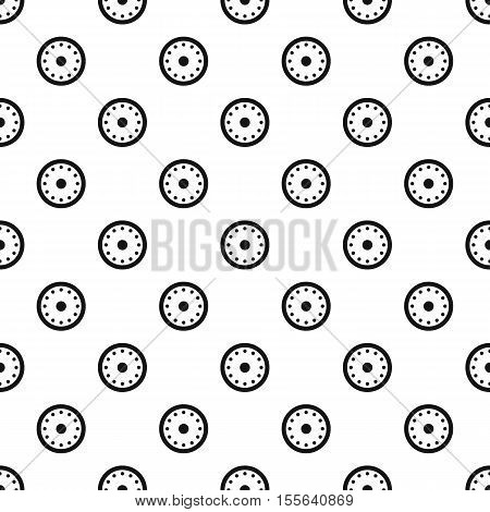 Round shield with metal rivets pattern. Simple illustration of shield with metal rivets vector pattern for web