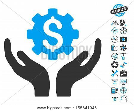 Maintenance Price icon with bonus uav tools pictograph collection. Vector illustration style is flat iconic blue and gray symbols on white background.