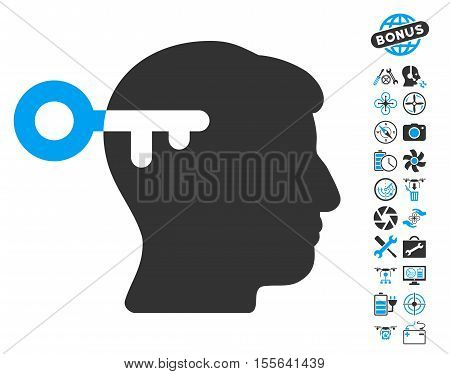 Mind Key pictograph with bonus aircopter service clip art. Vector illustration style is flat iconic blue and gray symbols on white background.