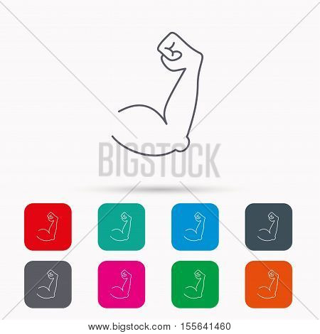Biceps muscle icon. Bodybuilder strong arm sign. Weightlifting fitness symbol. Linear icons in squares on white background. Flat web symbols. Vector