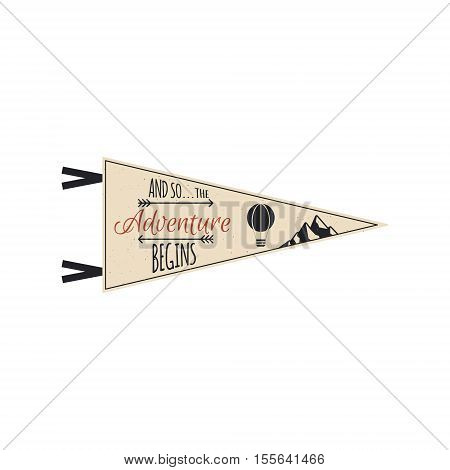 Adventure pennant. Travel pennant design. Explorer flag template. Vintage camping layout. Climbing style pennant with mountains and balloon.