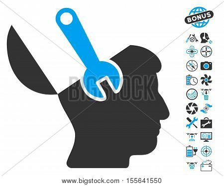 Mind Wrench Surgery icon with bonus quadrocopter service design elements. Vector illustration style is flat iconic blue and gray symbols on white background.
