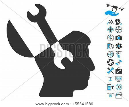 Mind Wrench Tools icon with bonus airdrone service design elements. Vector illustration style is flat iconic blue and gray symbols on white background.