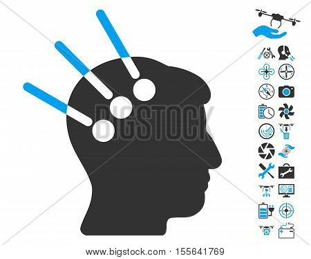 Neural Interface icon with bonus drone tools pictograph collection. Vector illustration style is flat iconic blue and gray symbols on white background.