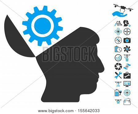 Open Head Gear icon with bonus nanocopter tools pictures. Vector illustration style is flat iconic blue and gray symbols on white background.