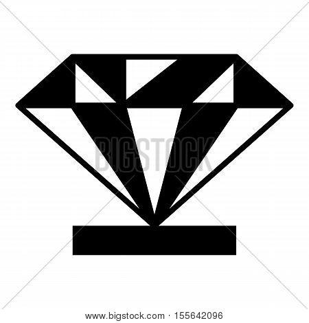 Diamond on a pedestal icon. Simple illustration of diamond on a pedestal vector icon for web design