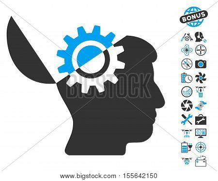 Open Mind Gear icon with bonus aircopter tools icon set. Vector illustration style is flat iconic blue and gray symbols on white background.