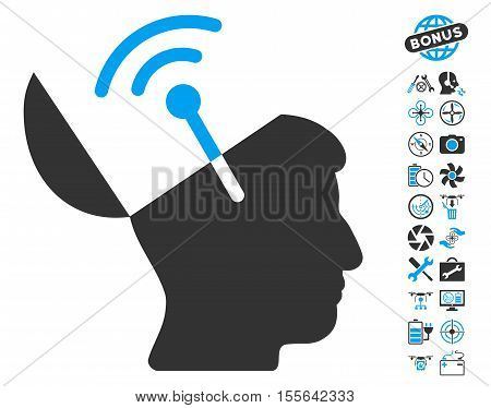 Open Mind Radio Interface icon with bonus aircopter tools design elements. Vector illustration style is flat iconic blue and gray symbols on white background.