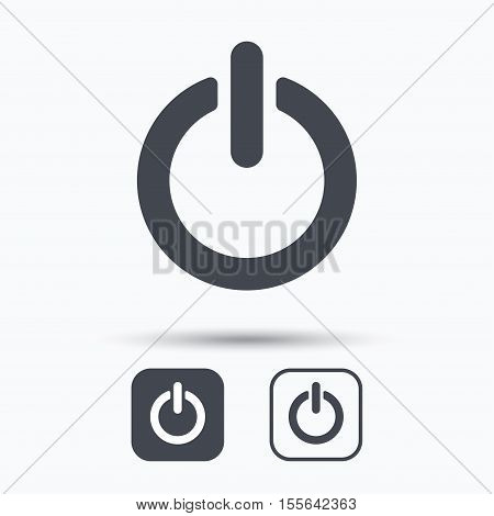 On, off power icon. Energy switch symbol. Square buttons with flat web icon on white background. Vector
