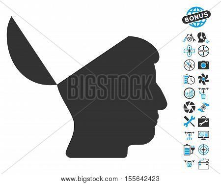 Open Mind icon with bonus aircopter service symbols. Vector illustration style is flat iconic blue and gray symbols on white background.