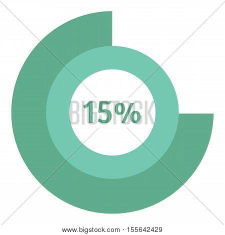 Web preloader 15 percent icon. Flat illustration of web preloader vector icon for web design