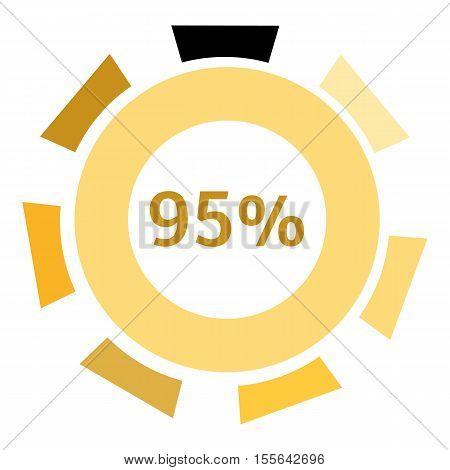 Web preloader 95 percent icon. Flat illustration of web preloader vector icon for web design
